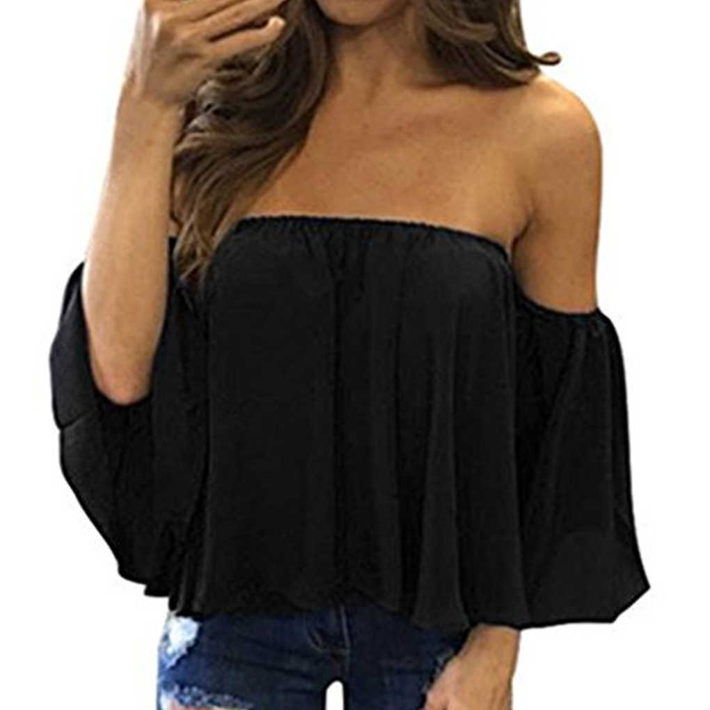 Stylish Women Off Shoulder Casual Blouse Shirt Tops Strapless Pure Color Bell Puff Sleeve Tops