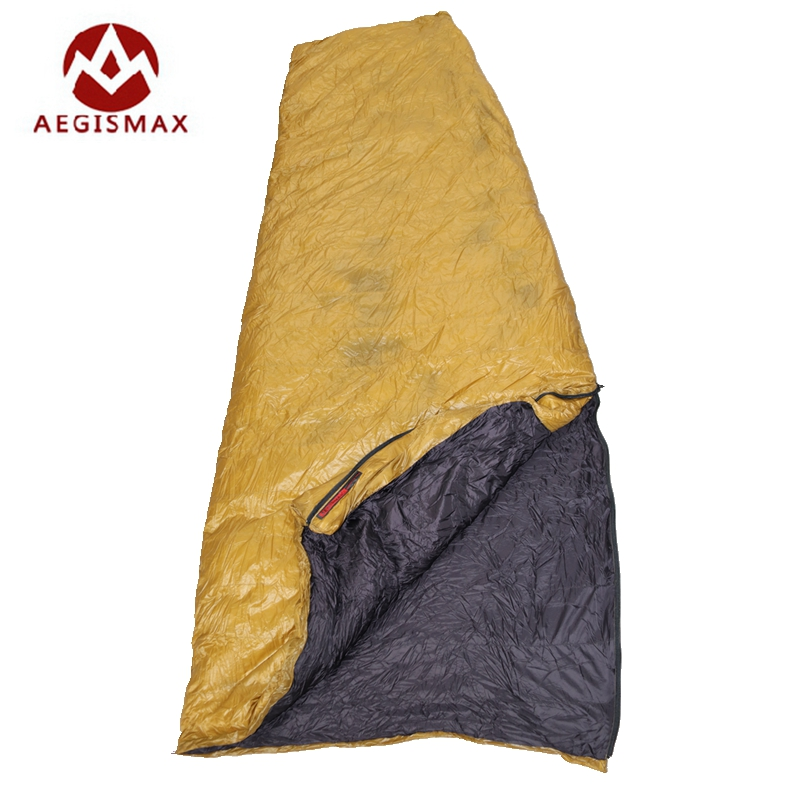 Aegismax Duvet d'oie Blanche Sac de Couchage D'hiver Fan Forme Avec Sac Ultra-Léger Allongé Camping En Plein Air Randonnée FP800 200x82 cm