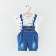 Childrens Spring and Autumn Set Baby Striped Short-Sleeve Denim Jeans, Two-Piece