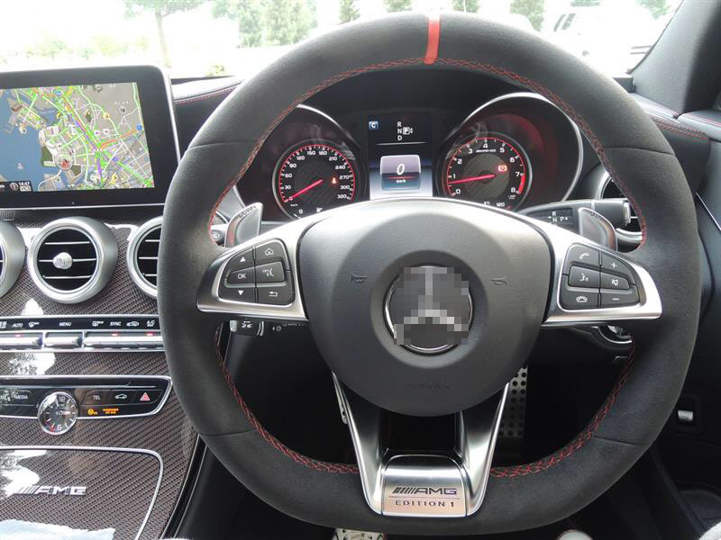 For Benz AMG C63S High Quality Hand-stitched Anti-Slip Black Suede Red Thread DIY Steering Wheel CoverFor Benz AMG C63S High Quality Hand-stitched Anti-Slip Black Suede Red Thread DIY Steering Wheel Cover