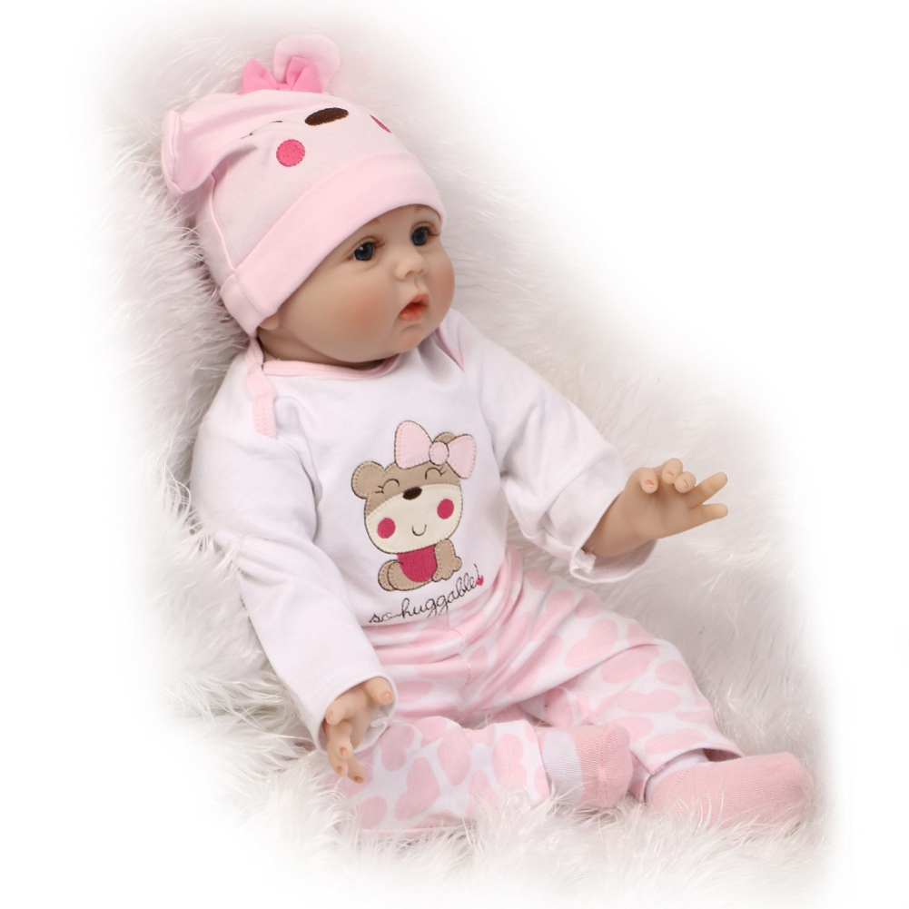 55cm Silicone Reborn Baby Doll Toys Lifelike Soft Cloth Newborn babies Doll Reborn Birthday Gift Girls
