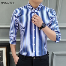 Shirts Men Summer Three Quarter Striped Shirt Simple Comfortable Mens Korean Style Daily Casual Slim Fit Plus Size Fashion Chic