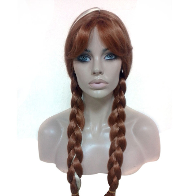 princess anna wig adult long ginger wig brown ponytail wigs medium natural hair heat resistant synthetic wigs anime cosplay