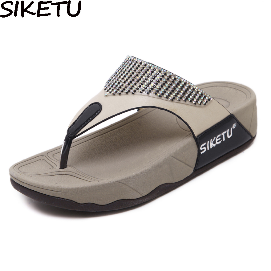 SIKETU Casual Women Slippers Thong Sandals Flip Flops Summer Beach Shoes Woman Rhinestone Comfortable Soft Thick Bottom Heels