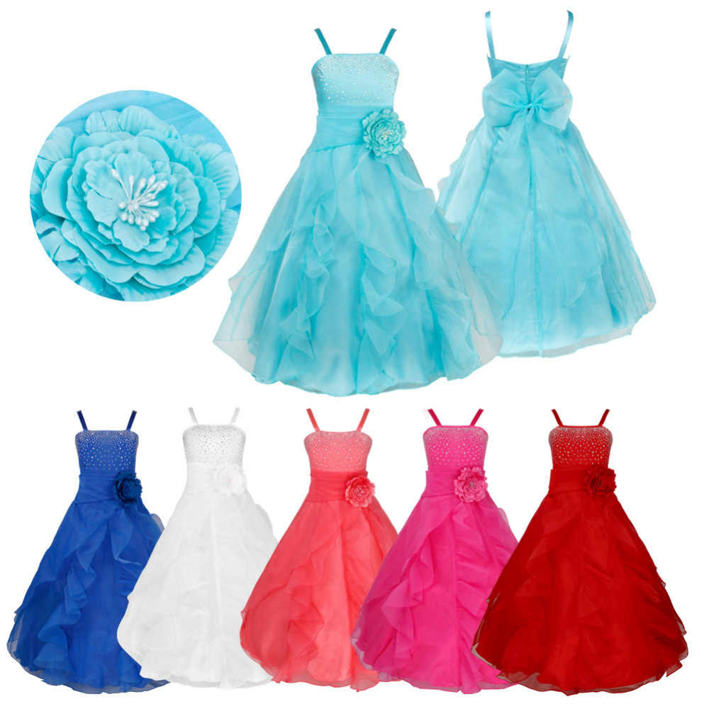 196e6ec815a47 TiaoBug Kids Girls Sleeveless Prom Gown Flower Girl Dresses Princess  Wedding Communion Graduation Party Dress with Bowknot 2-14Y
