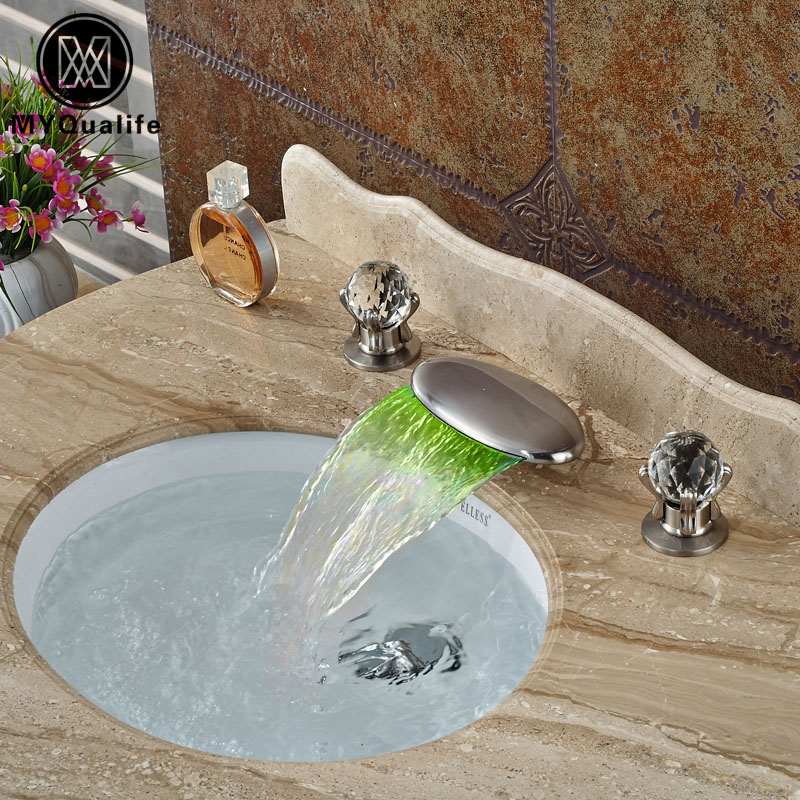 High-end Brushed Nickel Waterfall LED Light Spout Basin Sink Faucet Deck Mount Dual Cristal Handles