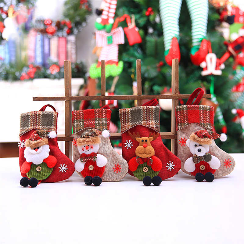 Mini Christmas Stockings Socks Santa Claus Candy Gift Bag Christmas Decorations for Home Festival Party Ornaments  #2o22 (8)