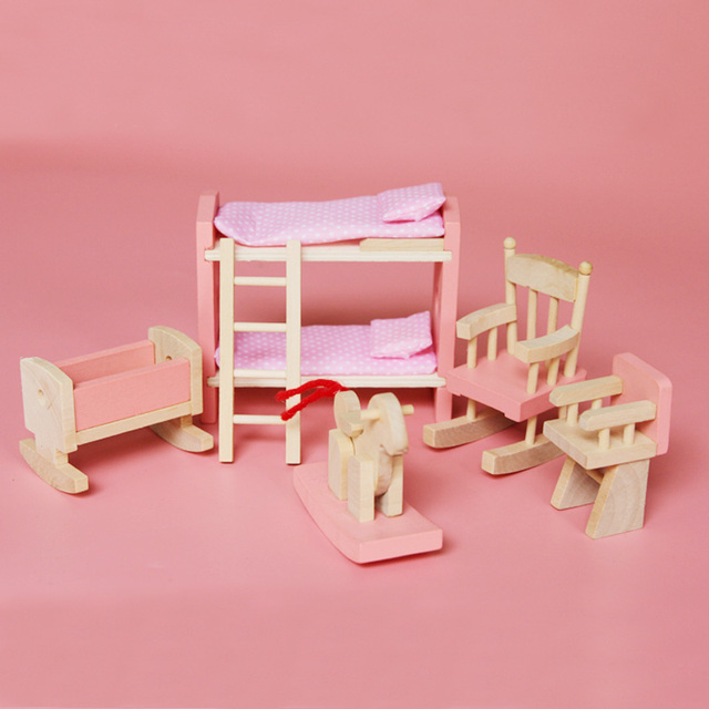 Bon Cute Miniature Wood Dollhouse Furniture Doll Bedroom Furniture Set Bed  Chair Pretend Play Toys For Girl