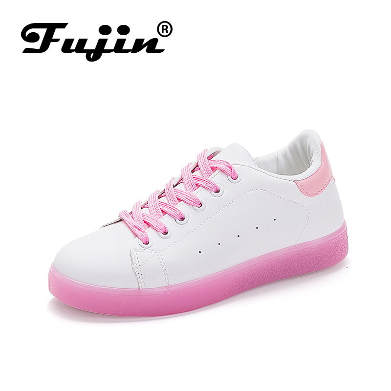 Fujin Spring Jelly Bottom White Shoes Female Students Lace Shoes Flat Low Cut Color Sports Shoes in Women 39 s Flats from Shoes