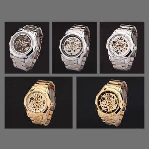 Image 4 - GEWINNER marke uhren männer mechanische skeleton armbanduhr uhren mode casual automatische wind uhr gold stahl band relogio masculino