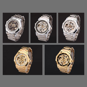 Image 4 - Kazanan marka saatler erkekler mekanik İskelet bilek saatler moda casual otomatik rüzgar İzle altın çelik kayış relogio masculino