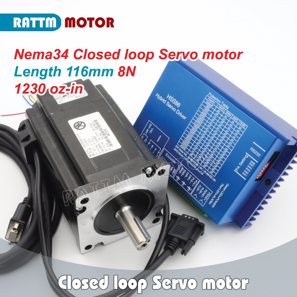 EU Ship Free VAT!!! Nema34 8N.m Closed Loop Servo motor 6A L 116mm & 2HSS86H Hybrid Step-servo Driver CNC Controller 8A 2 phase 8 5n m closed loop stepper servo motor driver kit 86j18118ec 1000 2hss86h cnc machine motor driver