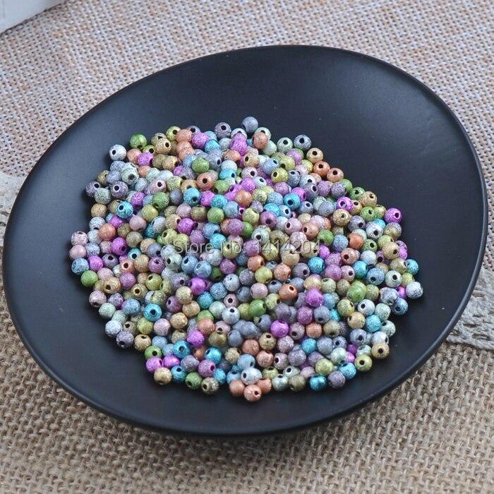 Смешанный Цвет Stardust Акриловые круглые шарики прокладки для украшения ручной работы 800 шт. 4 мм ykl0239-4x