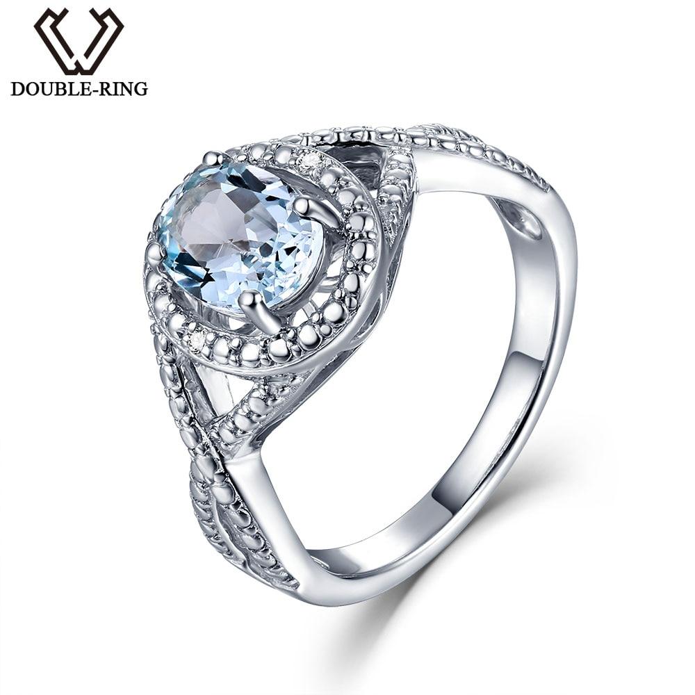 DOUBLE-R Réel Diamant 1.6ct Naturel Bleu Topaze Pierres Précieuses 925 Sterling bague En Argent Broderie