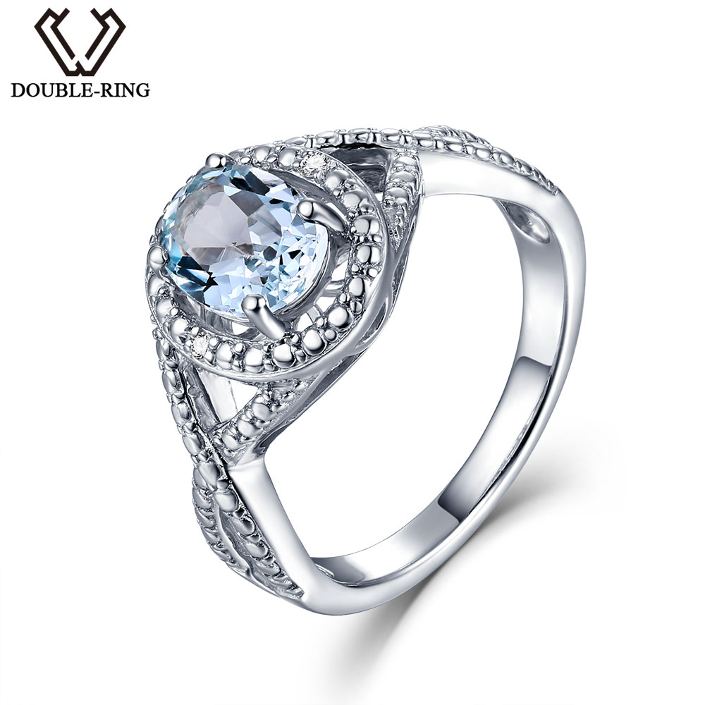 Double R Real Diamond Wedding Rings Female Oval 1 6ct Natural Blue Topaz Women Silver