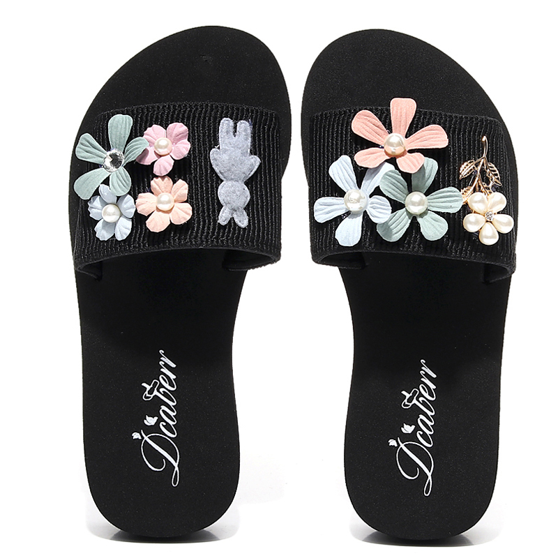 3CM/6CM Heel Height Flower Handmade Women Slides 2018 New Summer Appliques Sandals Unique design