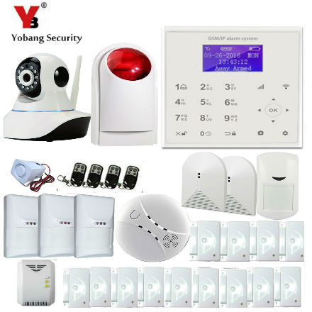 YobangSecurity Wifi GSM SMS Wireless Home Burglar Security Alarm System With Video IP Camera Wireless Siren Android IOS APP