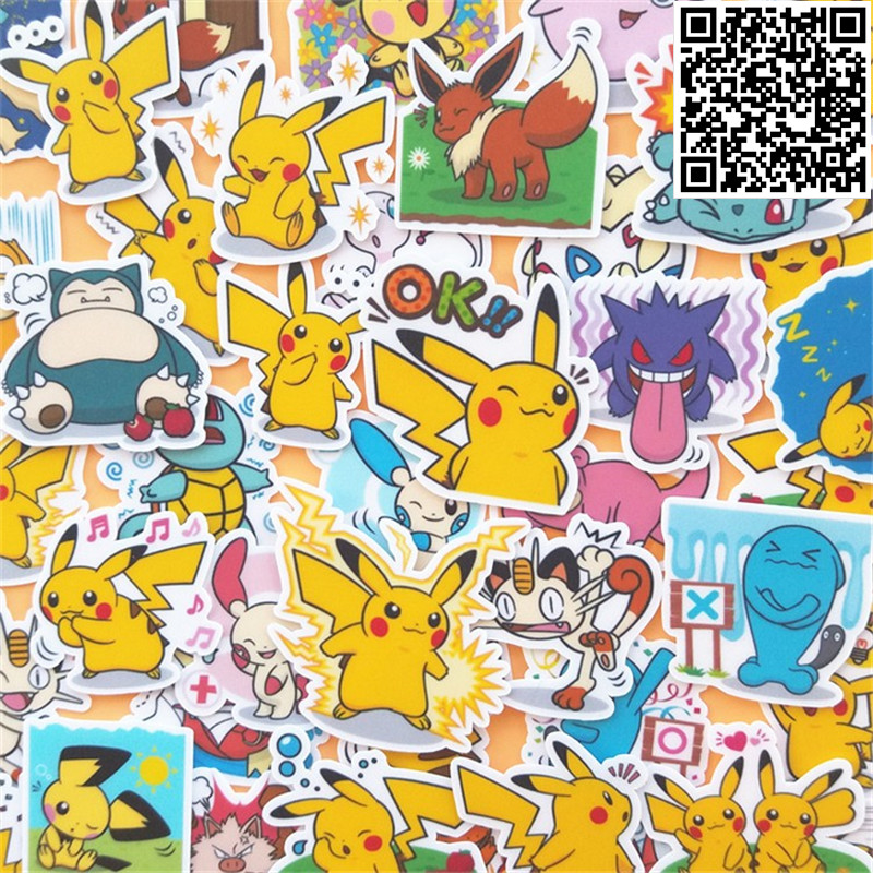 40 pcs Various Pokemons Sticker for Luggage Skateboard Phone Laptop Moto Bicycle Wall Guitar/Eason Stickers/DIY Scrapbooking 230 pcs rick and morty cartoon pvc waterproof sticker for luggage skateboard phone laptop moto trunk guitar car diy stickers