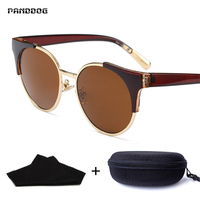 PANDDOG 2018 Female Circular Alloy Retro Sunglasses Individual Frame Street UV400 Polarized With Box And Cloth