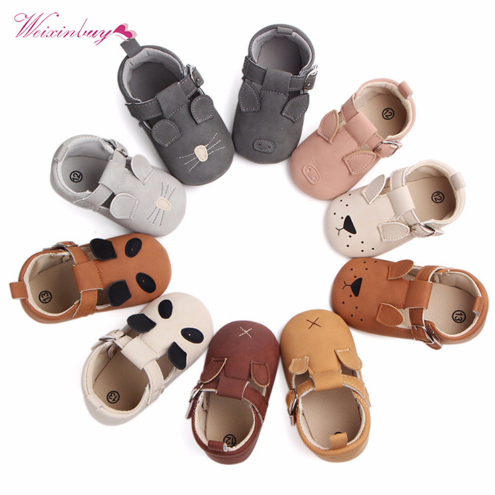 New Baby Boy Girls Shoes Cartoon Animal Moccasins Panda Mouse Newborn Infant Toddler Soft Sole First Walkers Leather Baby Shoes