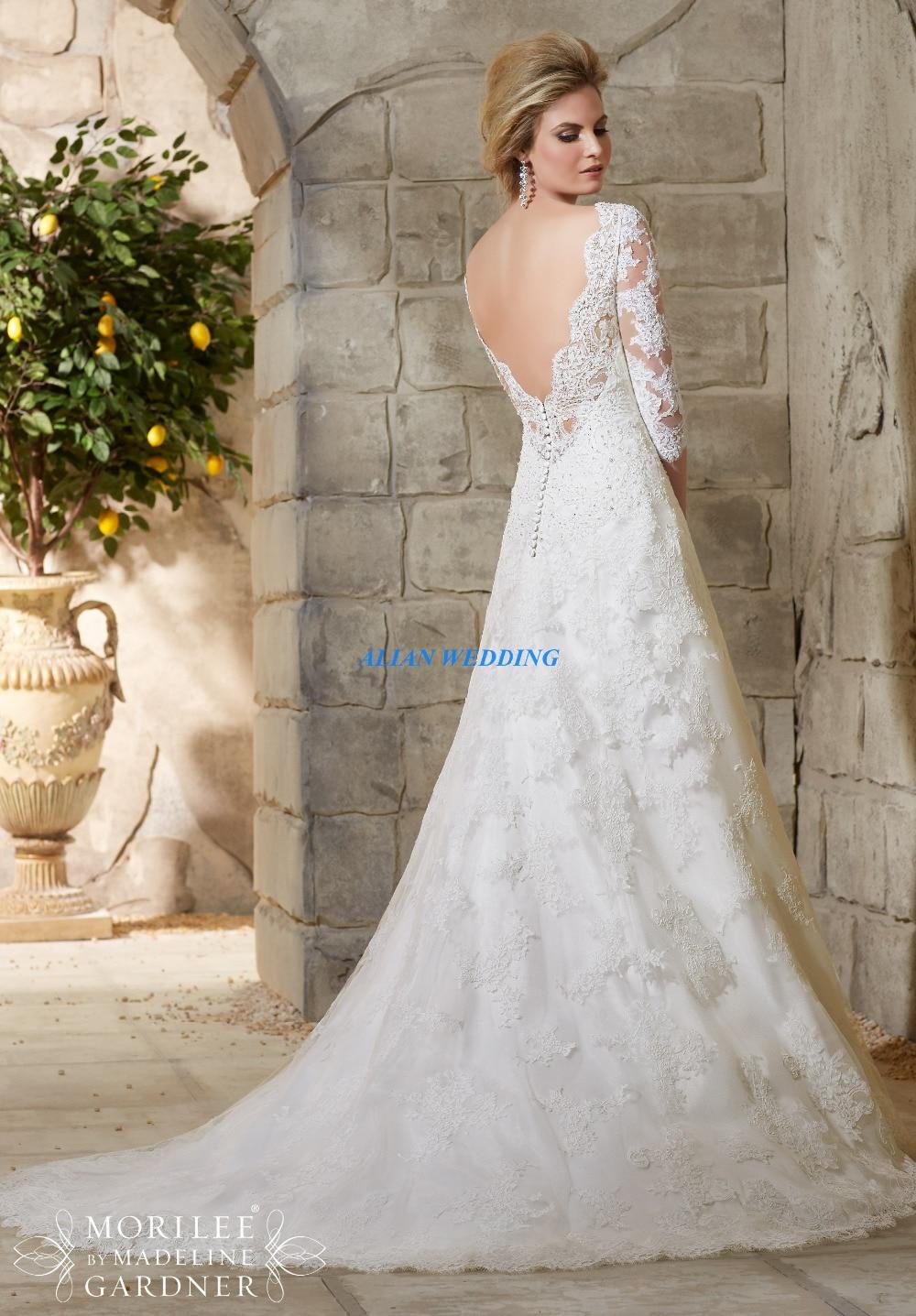 Jordan Wedding Dresses 3/4 Sleeve Mermaid Vestido De Casamento High ...