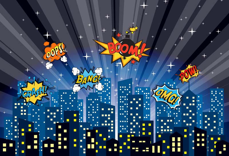 Vinyl photography background superhero cartoon night city comics boom children fotografia - Superhero background wallpaper ...