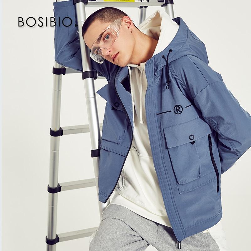 100% Wahr Bosibio Mode Stil Kapuze Herren Jacken Zip Frühling Herbst Blau Multi Tasche Windjacke Fracht Oberbekleidung 2926