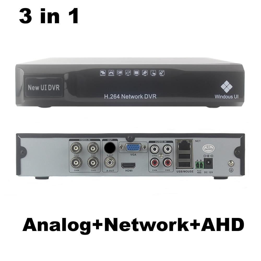 4CH AHD DVR NVR 3 in1 Hybrid Analog+Network+AHD 4 channel Audio Video H.264 P2P CCTV Security Recorder 4ch 8ch 1080n cctv ahd dvr nvr xvr video