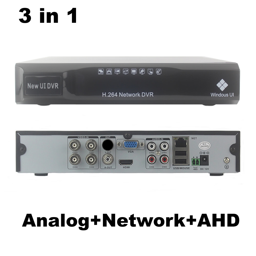 4CH AHD DVR NVR 3 in1 Lai Analog + Mạng + AHD 4 kênh Audio Video H.264 P2P CCTV An Ninh ghi