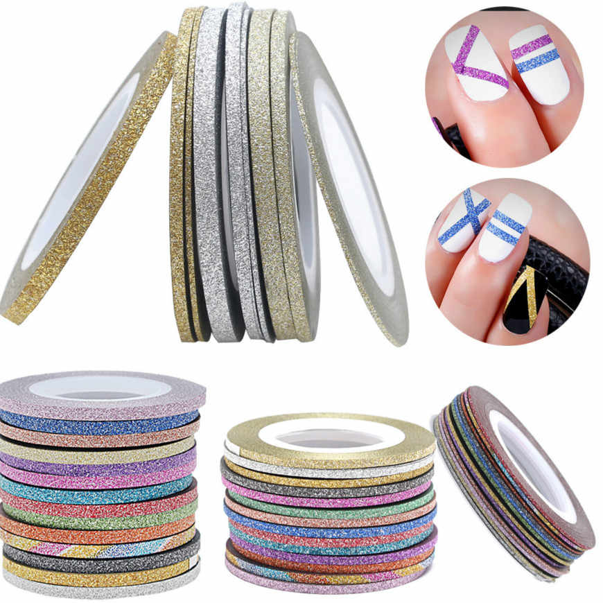 HOT 1mm 12 Color Glitter Nail Striping Line Tape Sticker Set Art Decorations DIY Tips For Polish Nail Gel Rhinestones Decorat