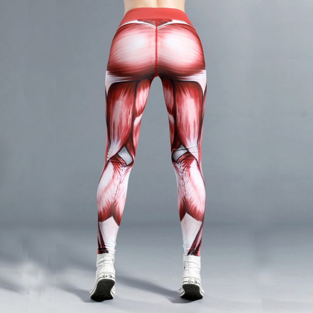 Women Muscle Power Print Thick Elastic Leggings