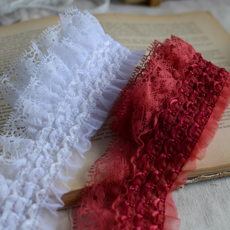 1 meter stretch lace accessories lace font b skirt b font side ruffle double