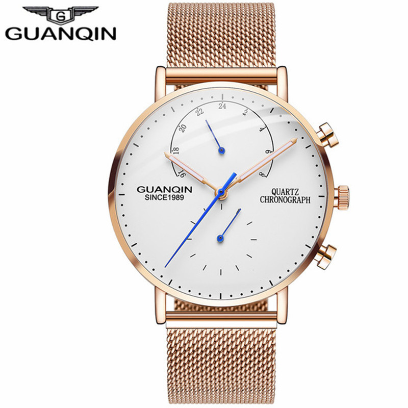 GUANQIN Chronograph Watch Men Stainless Steel Strap Relogio Male Quartz Watch Waterproof Mens Wristwatch relogio masculino oulm mens designer watches luxury watch male quartz watch 3 small dials leather strap wristwatch relogio masculino
