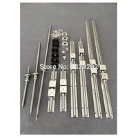 3set ballscrew SFU1605 400/750/800 + BK/BF12 + 6sets SBR20 Linear Guide rails+ couplers for CNC Router Milling Machine