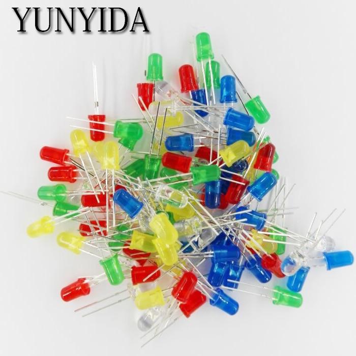100pcs 5mm LED Light Assorted Kit DIY LEDs Set White Yellow Red Green Blue 5kinds X 20pcs