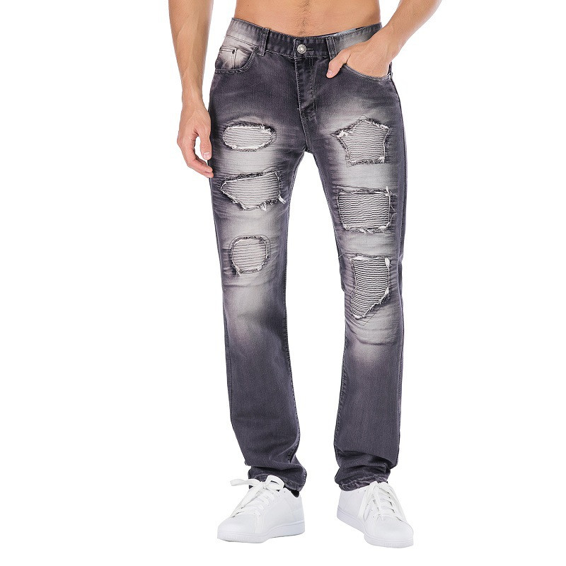 KIMSERE Fashion Men Ripped Biker Jeans Pants Hi Street Distressed Pleated Motorcycle Denim Trousers With Holes Plus Size 29-42(China)