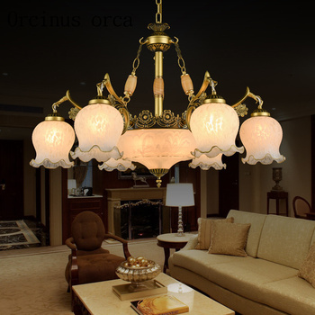 Simple European style chandeliers idyllic Mediterranean restaurant room art glass lamp Vintage wrought iron gilt Chandelier