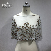 QSYYE New Design Luxury Beaded Wedding Formal Dress Cape Wedding Accessories Custom Size and Color 100% High Quality Hand Made