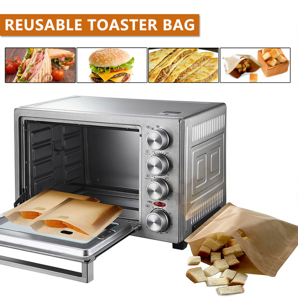 Non Stick Reusable Toaster Bag Bread Bag Grilled Cheese Sandwiches Bags Coated Fiberglass Toast Microwave Heating Pastry Tools image