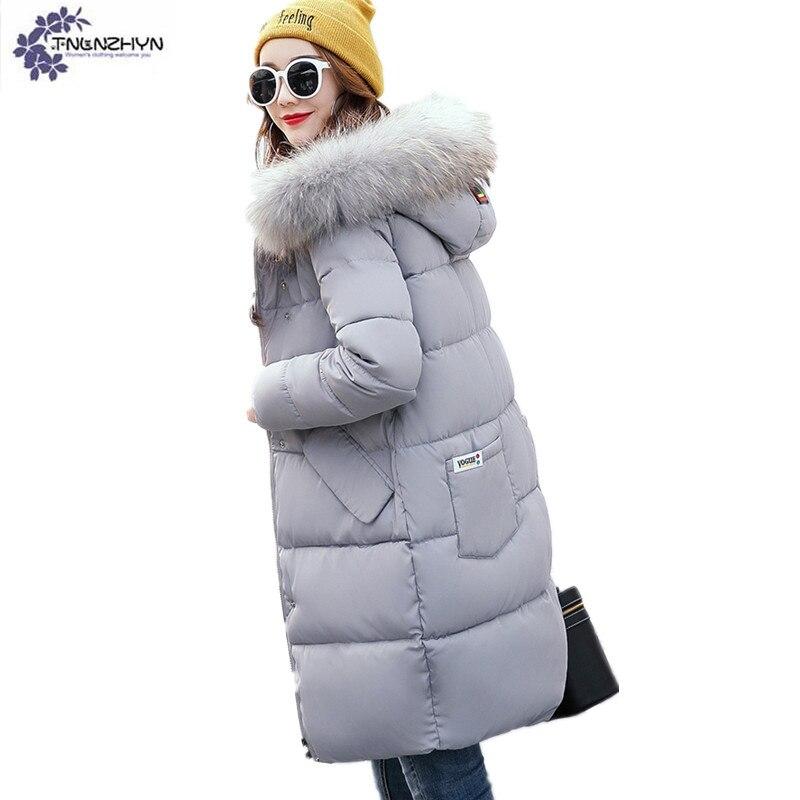 цены на TNLNZHYN Women clothing Thickening warm Cotton coat winter new loose Big yards hooded fur collar Long female Cotton coat QQ98 в интернет-магазинах