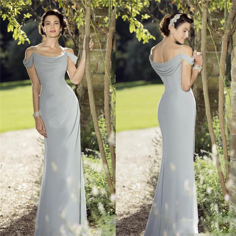 Simple True A Line Summer Evening Dresses Spaghetti Floor Length Chiffon Evening Dress Sleeveless Evening Gowns