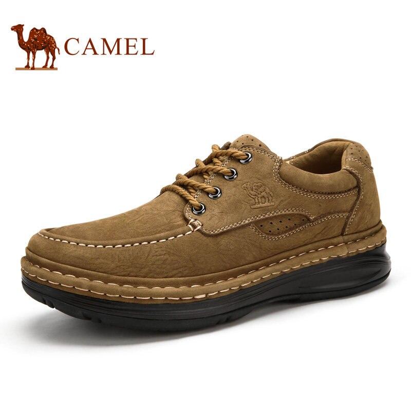 Camel мужская обувь натуральная кожа повседневная обувь толстым дном шва обувь ручной работы a632374110