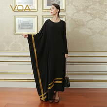 VOA 블랙 플러스 사이즈 불규칙한 로브 드레스 실크 브리프 캐주얼 여성 맥시 롱 드레스 이슬람 Abaya 아랍어 이슬람 두바이 ALJ02001