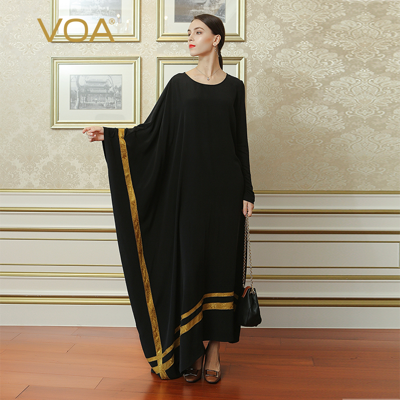 VOA Black Plus Size Irregular Robe Dress Silk Brief Casual Women Maxi Long Dresses Muslim Abaya Arabic Islamic Dubai ALJ02001