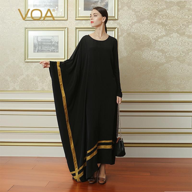 VOA noir grande taille Robe irrégulière en soie brève décontracté  femmes Maxi robes longues musulman Abaya arabe islamique dubaï  ALJ02001autumn fashionmaxi long dressfashion long dress