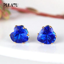 9 Color Hot Sale Heart Earring For Girl 8mm Crystal Stud Earrings Geometric Rhinestone Minimalist Women Jewelry PULATU BK668