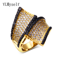 Party jewelry supplies ring fashion jewellery High quality designer Black cz Gold color rings for women wholesale a lot china