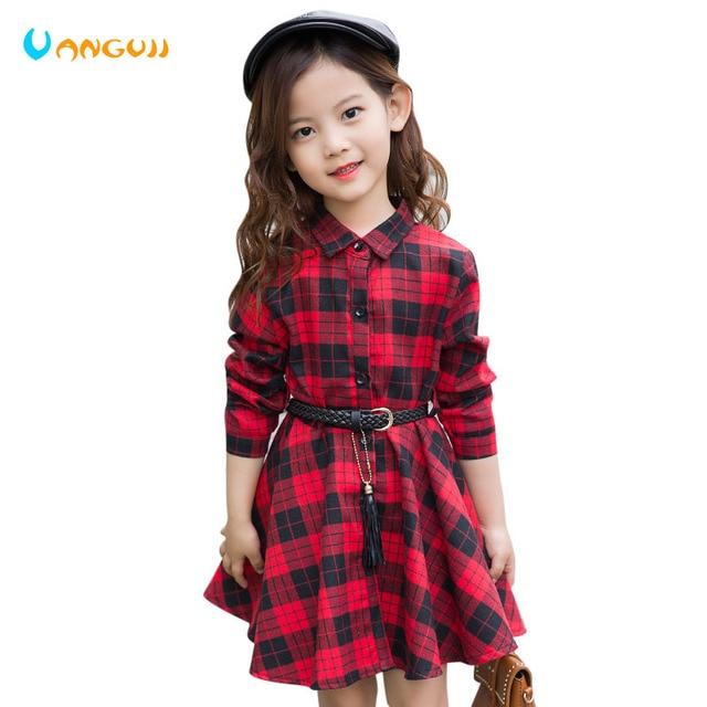 Blusa de algodón para niña, camisa holgada informal a cuadros de moda de manga larga, prendas de vestir con cinturón, camisa, vestido rojo y negro