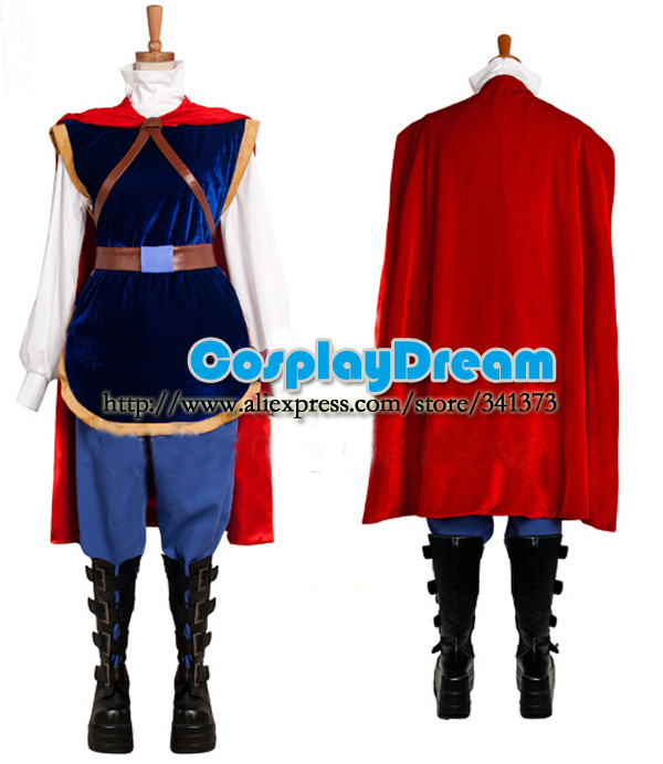 Snow White Prince Cosplay Costume Adult Men With Cape Halloween Party Cosplay Costume Outfit Snow White Prince Suit Custom Made
