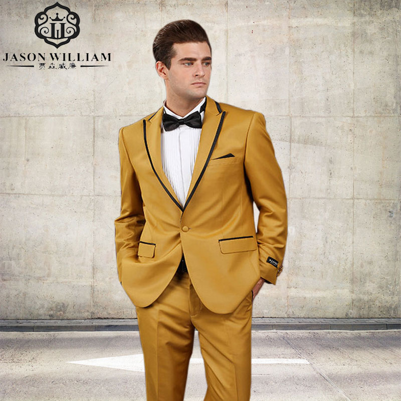 LN081 New Arrival One Button Gold Yellow Groom Tuxedos Groomsmen Men's Wedding Prom Suits Custom Made (Jacket+Pants+Tie)